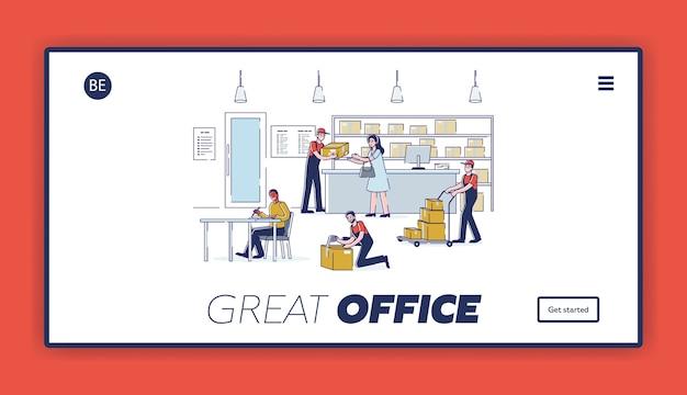 Pagina di destinazione per posta e consegna con interni e persone dell'ufficio postale