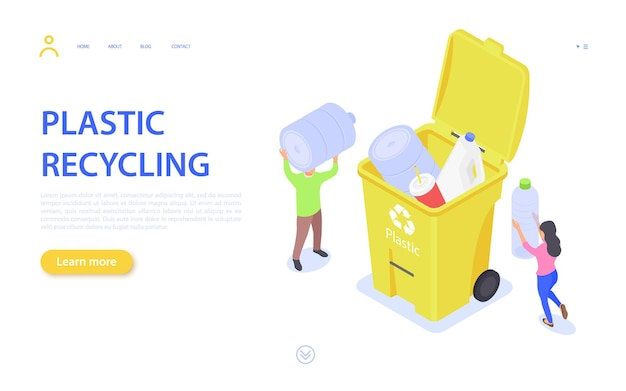 Pagina di destinazione del riciclaggio dei rifiuti di plastica. l'uomo e la donna raccolgono i rifiuti di plastica nella spazzatura.