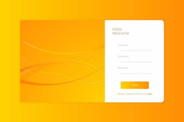 Iscrizione alla pagina di destinazione o modello di modulo di accesso