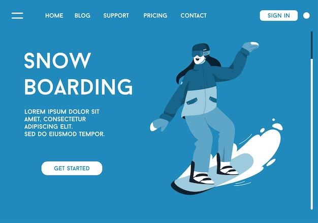 Pagina di destinazione del concetto di snowboard. la donna sorridente sta guidando lo snowboard in discesa.