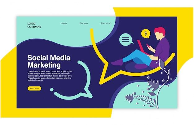 Disegno del modello di social media della pagina di atterraggio