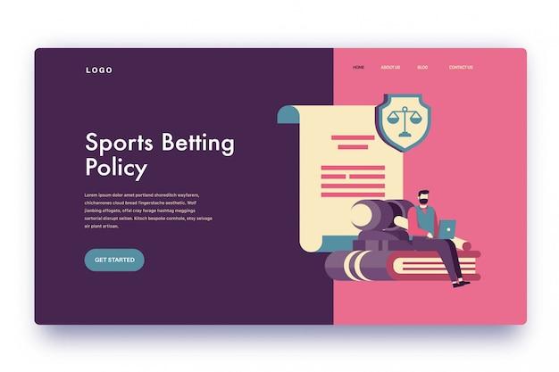 Politica sulle scommesse sportive sulla pagina di destinazione