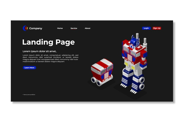 Modello di pagina di destinazione. progettazione di pagine web 3d.