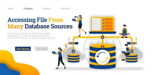 Modello di pagina di destinazione. accesso al file da molte origini di database. comunicazione tra database e dispositivo personale Vettore Premium