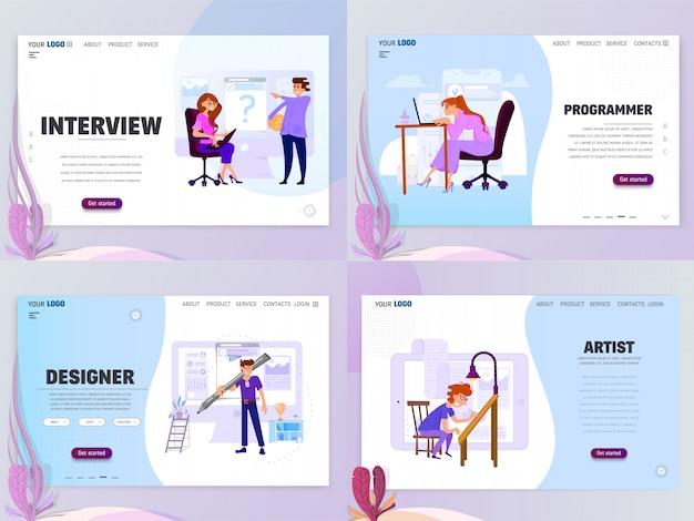 Modello di pagina di destinazione per artist designer o home page intervista, oggetti isolati