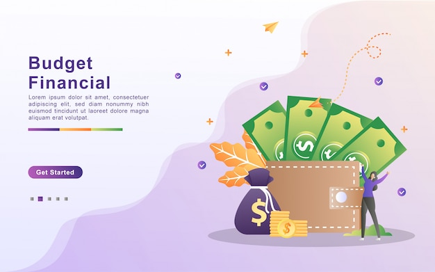 Modello di pagina di destinazione del budget finanziario in stile effetto sfumato