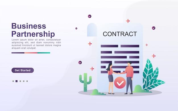 Modello di pagina di destinazione della partnership commerciale in stile effetto sfumato