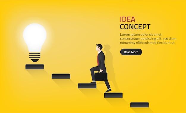 Modello di pagina di destinazione dell'uomo d'affari che cammina fino alla lampadina