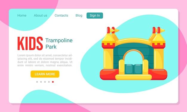 Modello di pagina di destinazione per parco trampolino per bambini con castello gonfiabile gonfiabile