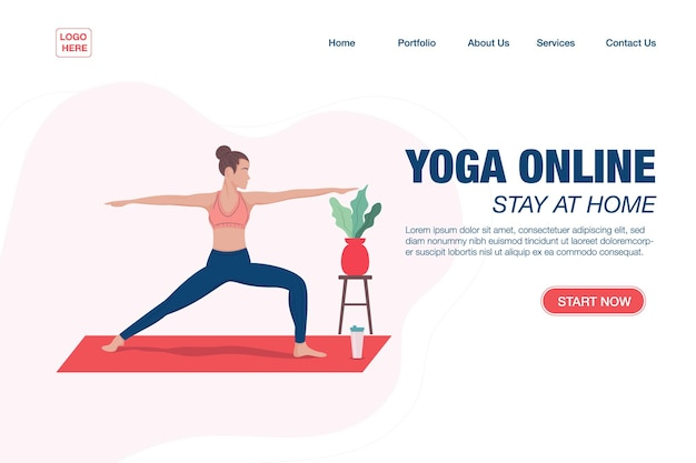 Modello di pagina di destinazione concetto ragazza che fa yoga online a casa