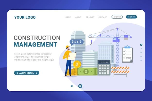 Modello di pagina di destinazione costo di costruzione per lo sviluppo dell'edificio