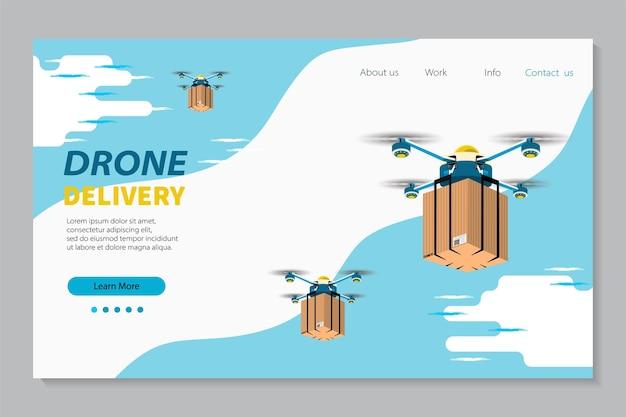 Modello di pagina di destinazione del servizio di consegna senza contatto tramite drone. Vettore Premium