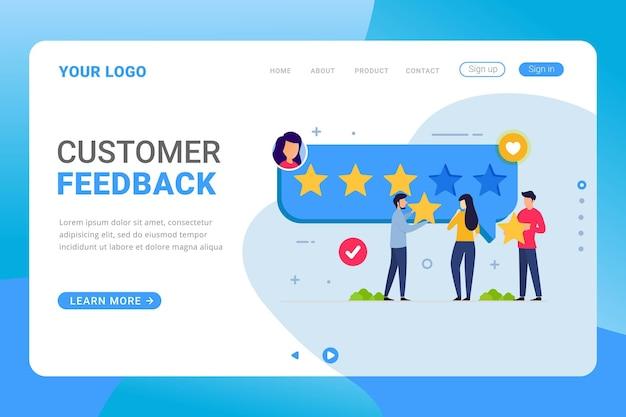 Recensioni e feedback dei clienti del modello di pagina di destinazione