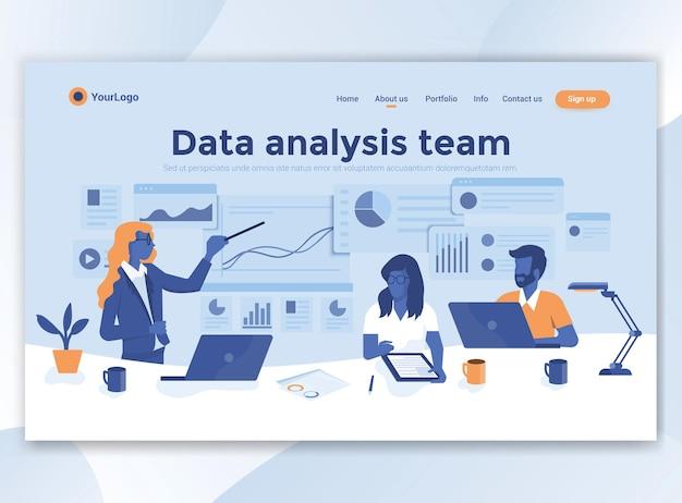 Modello di pagina di destinazione del team di analisi dei dati. design piatto moderno per sito web