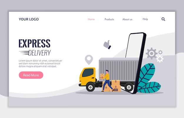 Modello di pagina di destinazione del servizio di consegna con il concetto di autotrasporti. pacchetto della scatola di trasporto del carattere del corriere da consegnare al cliente.