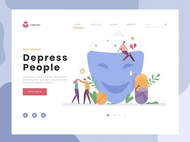 Landing page template, depression, flat tiny fingi di essere felice simbolico con maschera. problema di salute emotiva rotto persona. stanco, frustato e arrabbiato. stile piatto