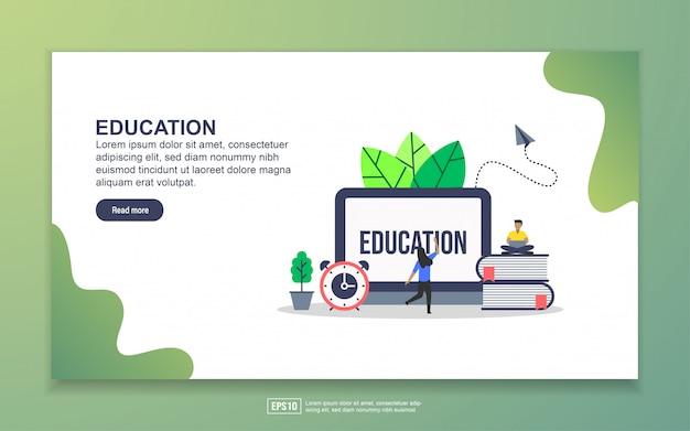 Modello di landing page di education