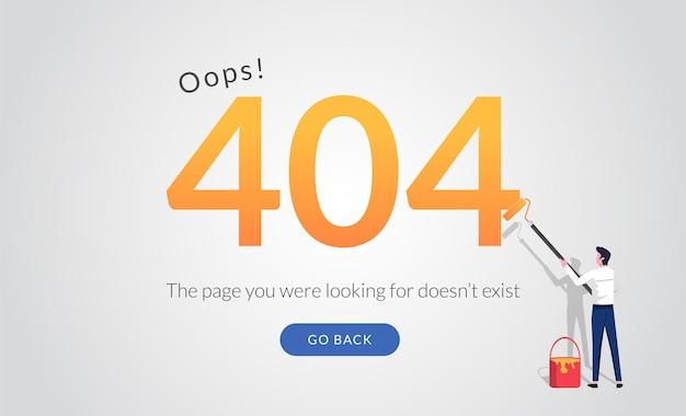 Modello di pagina di destinazione del concetto di messaggio di errore con l'uomo che dipinge il numero.