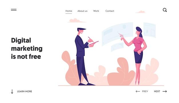 Modello di pagina di destinazione personaggio femminile che tocca l'interfaccia interattiva