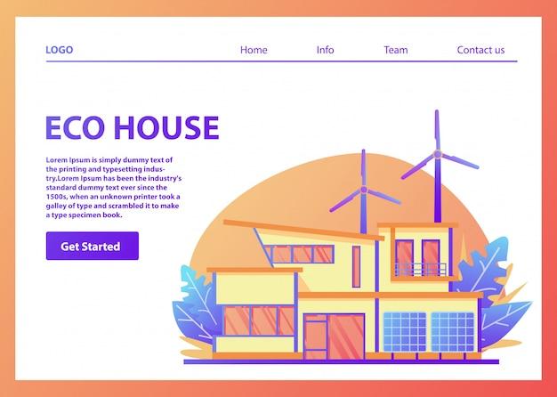 Modello della pagina di destinazione. casa americana suburbana ecologica a energia verde. pannello solare, turbina eolica. pagina web. modello di sito web.