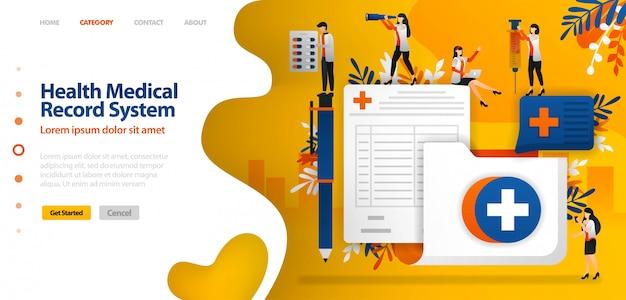 Modello di pagina di destinazione per sistema di registrazione di cartelle cliniche. cartella con croce simbolo e modulo di registrazione