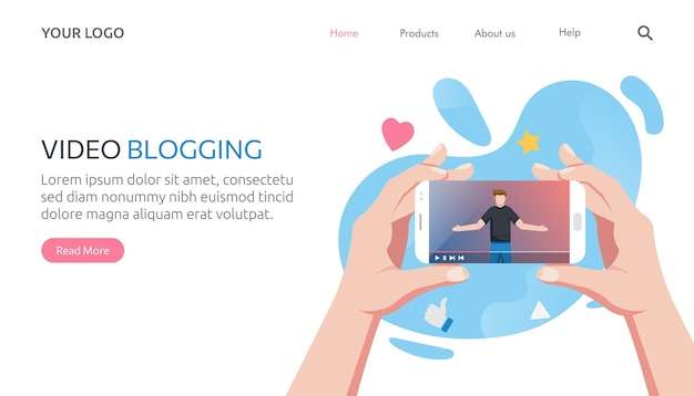 Modello di pagina di destinazione del blogger di internet che registra contenuti multimediali. influencer che filma video blog.