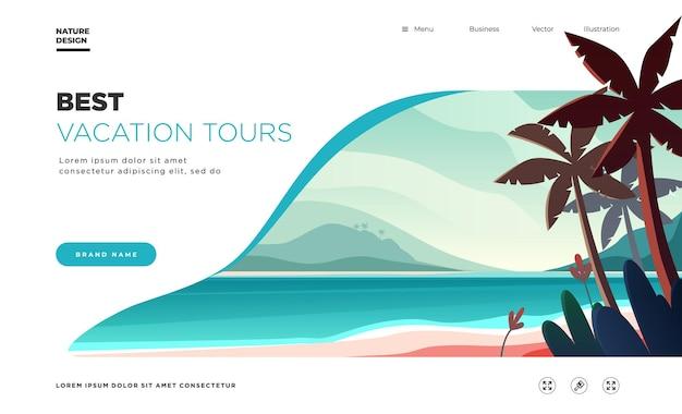 Modello di pagina di destinazione sullo sfondo del paesaggio con le palme sulla spiaggia i migliori tour per le vacanze commerciali