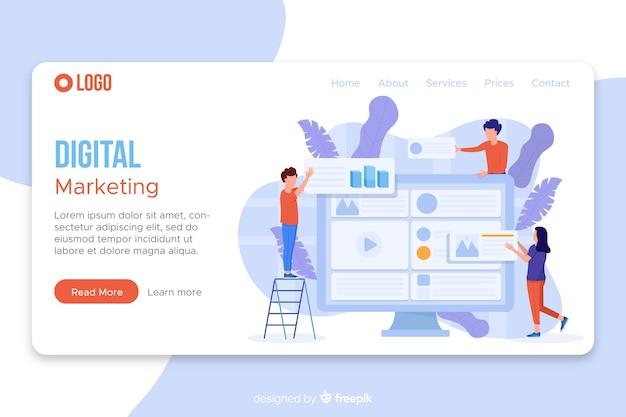 Modello di pagina di destinazione del marketing Vettore Premium
