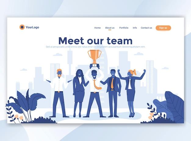 Modello di pagina di destinazione di incontra il nostro team. design piatto moderno per sito web