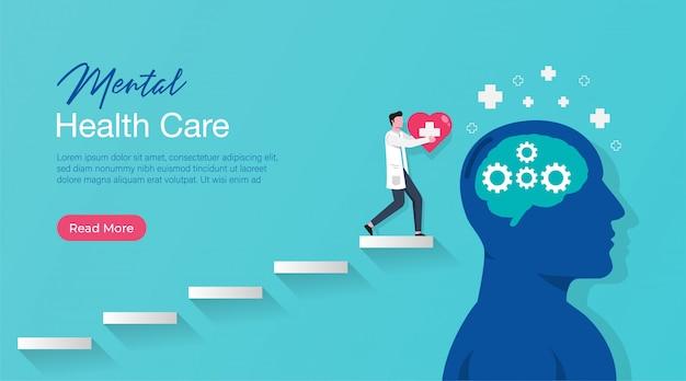 Modello di pagina di destinazione del trattamento medico di salute mentale con medico specialista fornisce terapia psicologica.