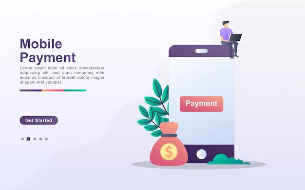 Modello di pagina di destinazione del pagamento mobile in stile effetto sfumato