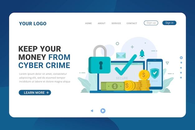 Modello di pagina di destinazione per il servizio del sistema di sicurezza del denaro