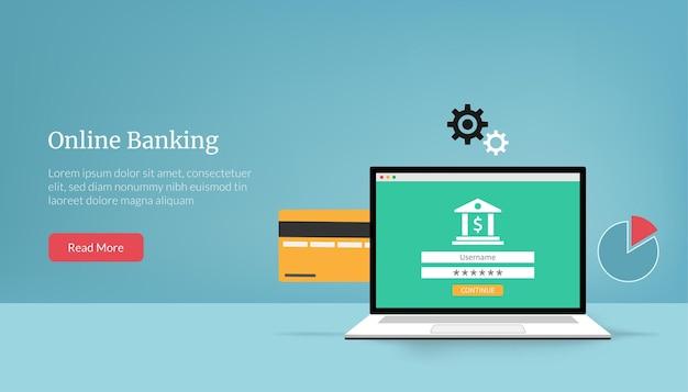 Modello di pagina di destinazione dell'illustrazione del concetto di banking online.