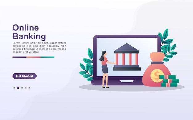 Modello di pagina di destinazione di servizi bancari online in stile effetto sfumato