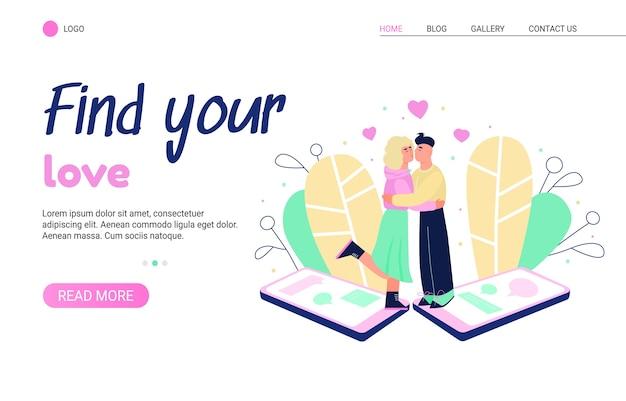 Modello di pagina di destinazione per app di appuntamenti online e relazioni virtuali.