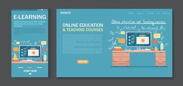 Modello di pagina di destinazione per formazione online, corsi, e-learning. facile da modificare e personalizzare