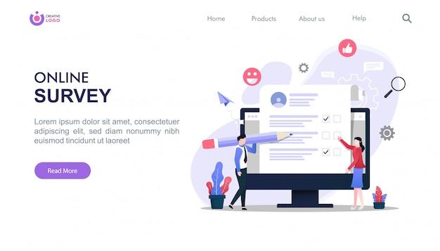 Modello di pagina di destinazione del concetto di indagine online con illustrazione di personaggi.