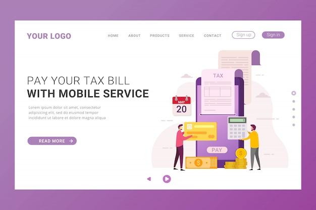 Pagamento fiscale online del modello di pagina di destinazione
