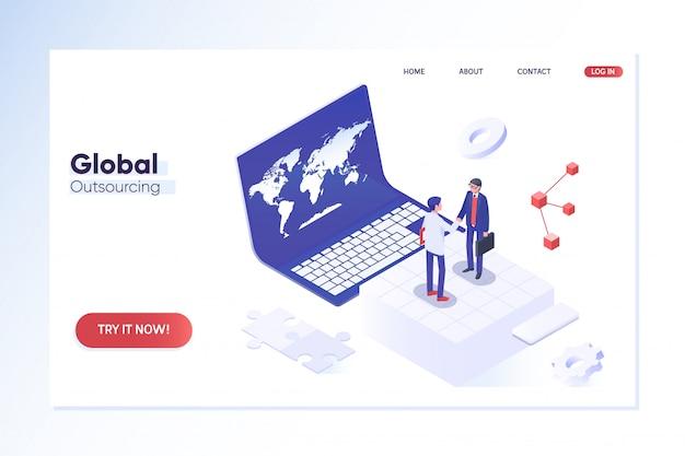 Modello di pagina di destinazione. esternalizzare i professionisti in diverse località in tutto il mondo