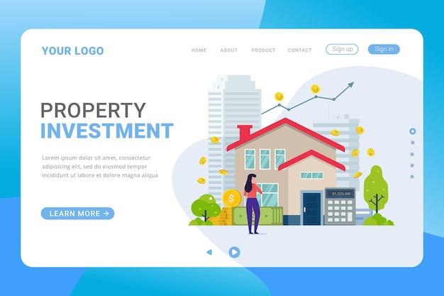 Modello di pagina di destinazione investimento immobiliare