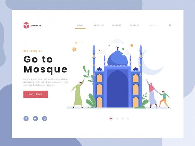 Landing page template, ramadan mubarak, flat piccole persone vanno insieme alla moschea. la felicità simbolica celebra il mese santo. luna crescente. stile piatto.