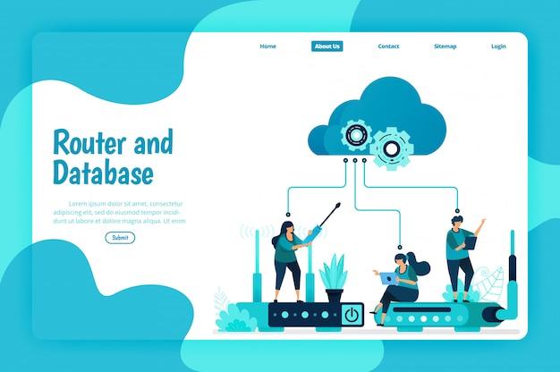 Modello di pagina di destinazione del servizio router e database. rete wifi e infrastruttura per connessione internet e accesso sicuro. illustrazione di landing page, sito web, applicazioni mobili, poster, flyer