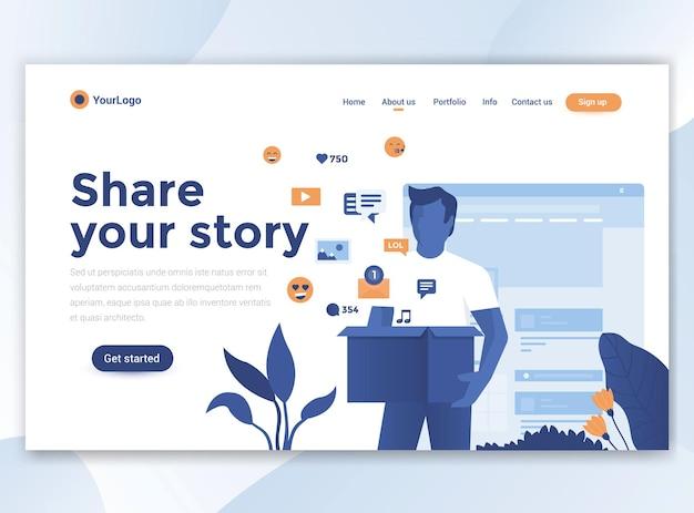 Modello di pagina di destinazione di condividi la tua storia. design piatto moderno per sito web