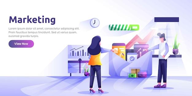 Modello di pagina di destinazione del social media marketing. illustrazione moderna