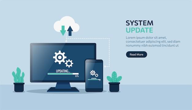 Modello di pagina di destinazione dell'aggiornamento del sistema su computer e dispositivi smartphone.