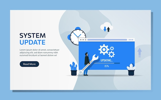 Modello di pagina di destinazione del concetto di aggiornamento del sistema. il personaggio dell'uomo usa la chiave per aggiornare il software.
