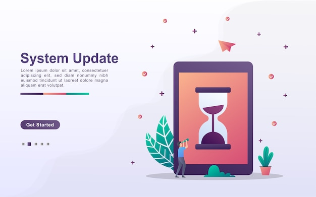 Modello di pagina di destinazione dell'aggiornamento del sistema