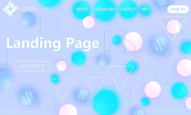 Modello di pagina di destinazione. sfondo geometrico alla moda. composizione di forme colorate.