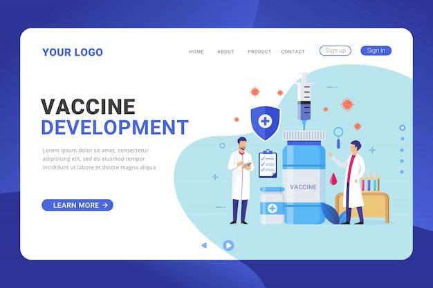 Modello di pagina di destinazione concetto di design del programma di sviluppo del vaccino