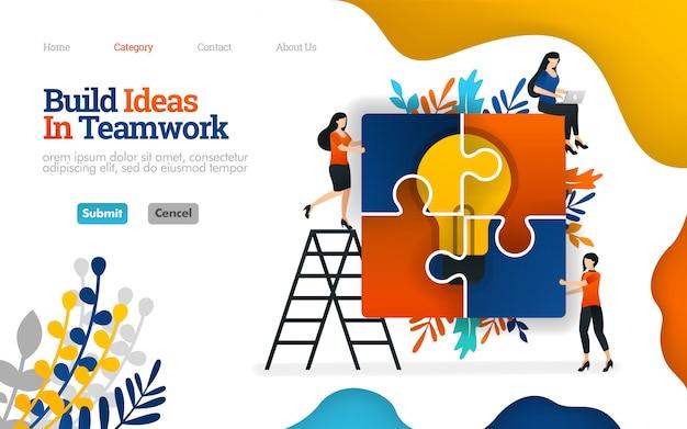Modello di pagina di destinazione. vector piatta illustrazione di costruire idee in team work, assemblando puzzle per l'ispirazione